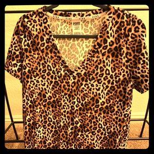 Pink Victoria Secret Leopard Print V-Neck T-Shirt